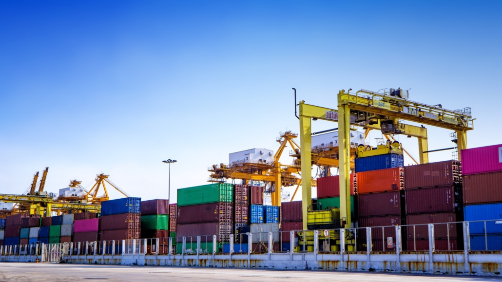 Containers in international logistics center