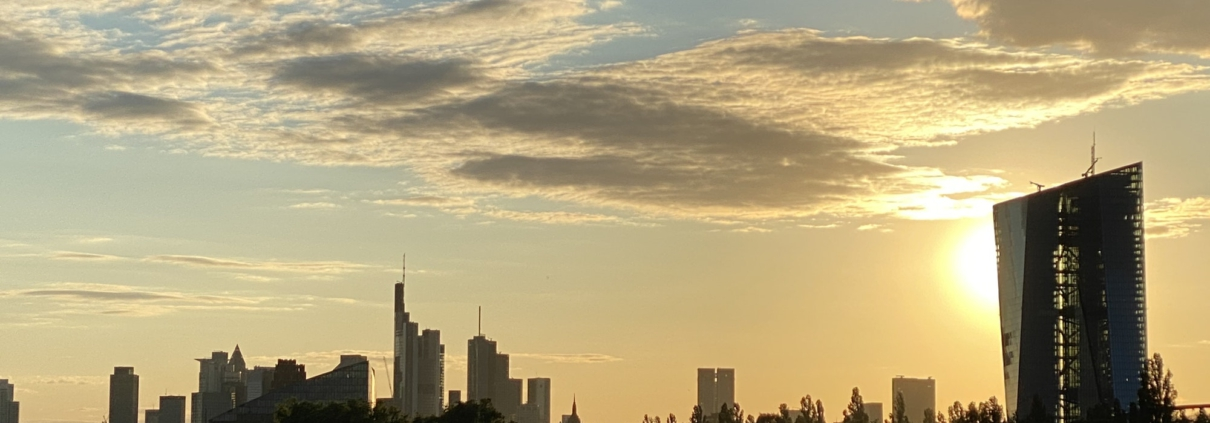 Skyline of Frankfurt / Main in Germany with the European Central Bank on the Right side.
